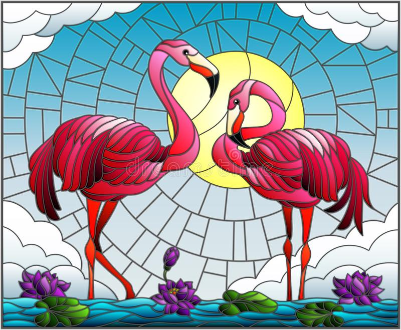 Stained glass illustration with pair of Flamingo , Lotus flowers and reeds on a pond in the sun, sky and clouds stock illustration