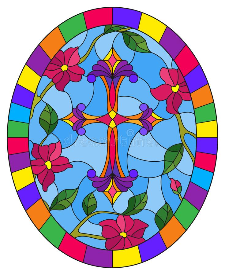 Stained glass illustration with a purple Christian cross in the sky and pink flowers, oval picture in a bright frame royalty free illustration