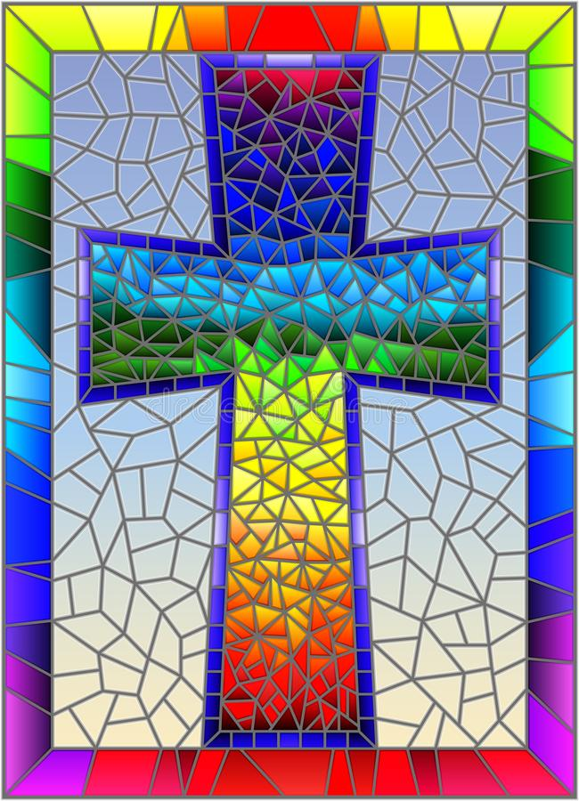 Stained glass illustration on religious themes, stained glass window in the shape of a rainbow Christian cross , on a blue backgro. The illustration in stained royalty free illustration