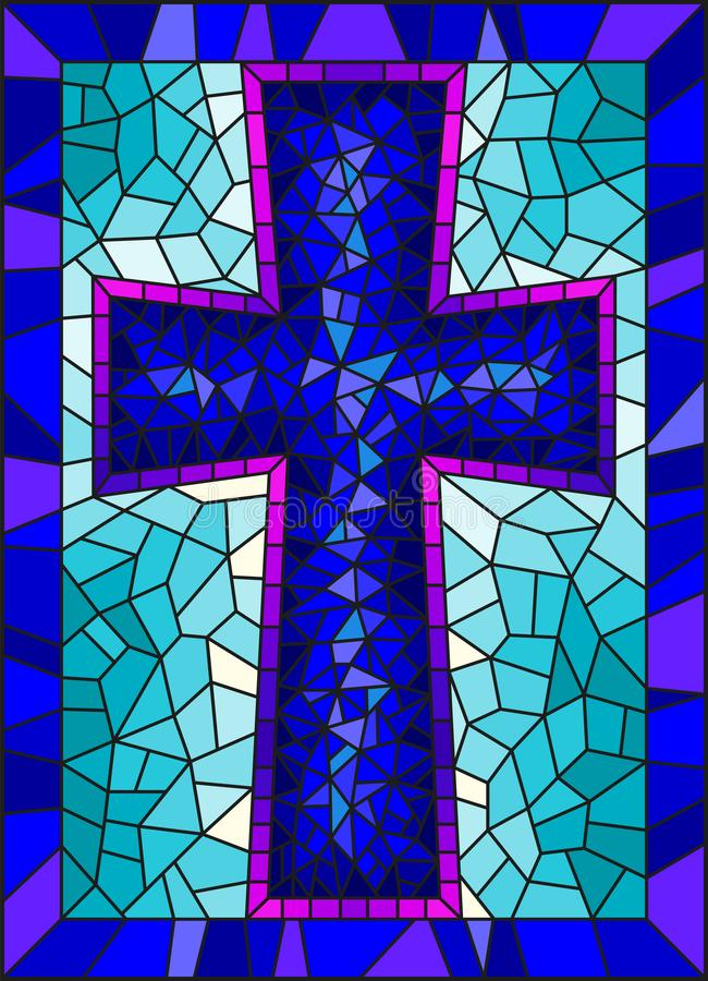Stained glass illustration on religious themes, stained glass window in the shape of a blue Christian cross , on a blue backgro. The illustration in stained royalty free illustration