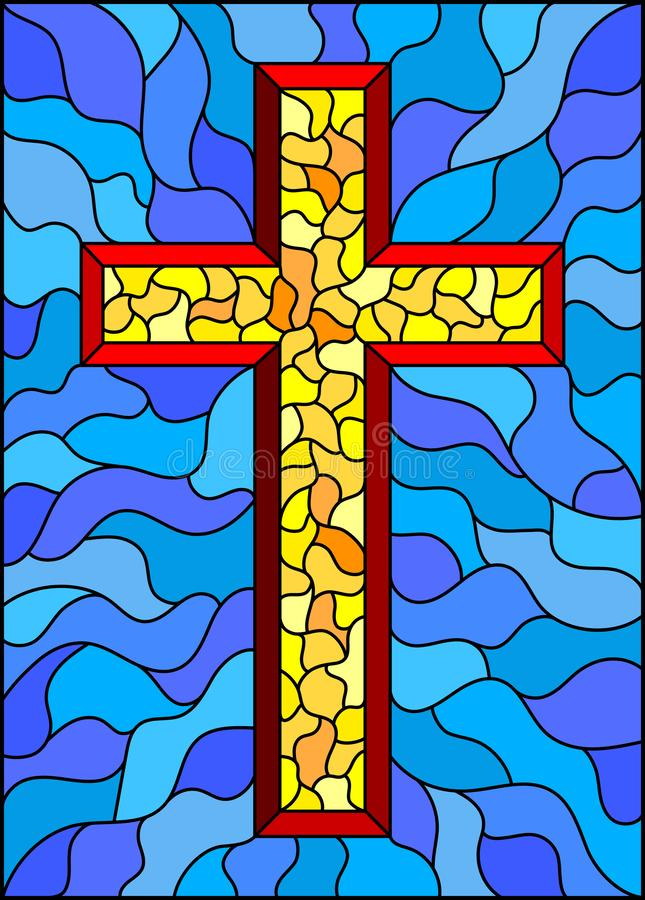 Stained glass illustration on religious themes, stained glass window in the shape of a yellow Christian cross , on a blue  backgro. The illustration in stained vector illustration