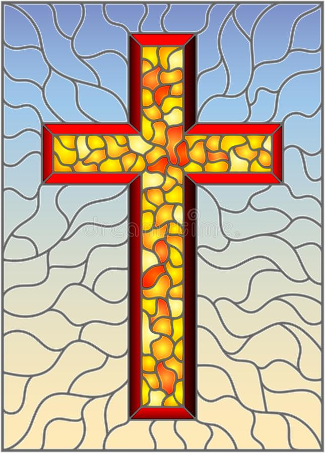 Stained glass illustration on religious themes, stained glass window in the shape of a yellow Christian cross , on a blue  backgro. The illustration in stained royalty free illustration