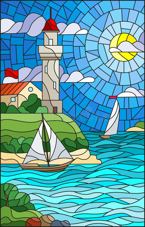 Stained glass illustration with sea view, three ships and a shore with a lighthouse in the background of day cloud sky sun and sea royalty free illustration