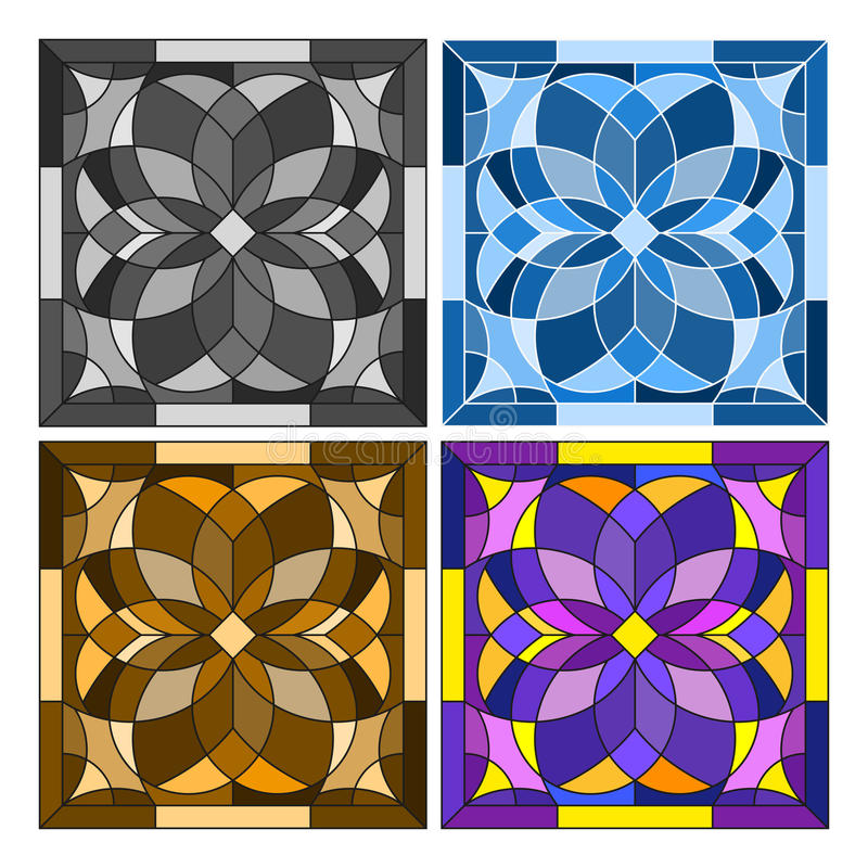 Stained glass illustration Set geometric square in different colours. Illustration in stained glass style in different colours stock illustration