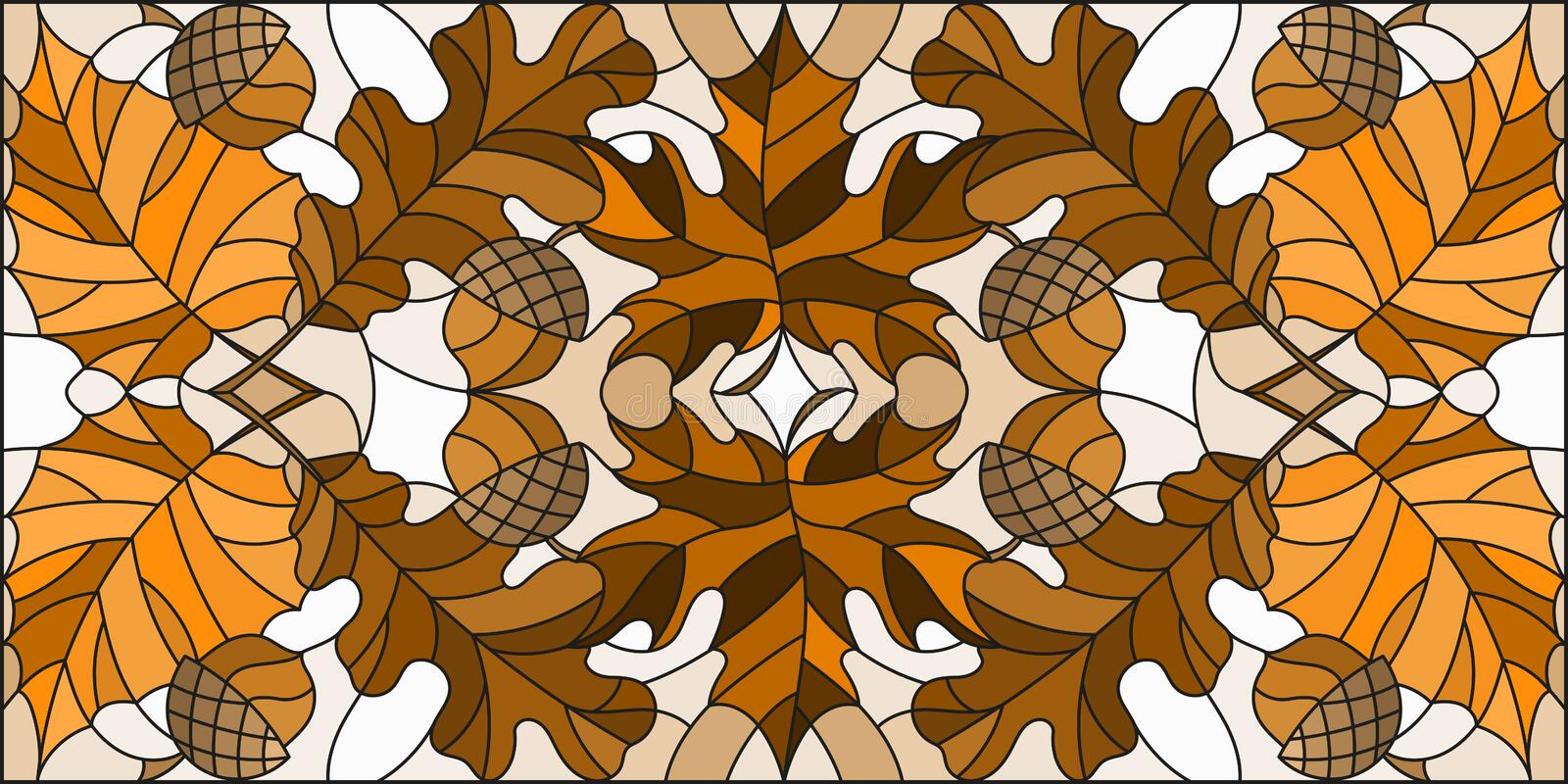 Stained glass illustration  on the theme of autumn, leaves, oak, maple , aspen and acorns on a light background,horizontal orienta. Illustration in stained glass stock illustration