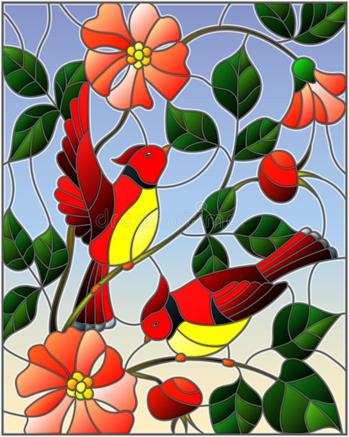 Stained glass illustration with two red birds on the branches of blooming wild rose on a background sky. Illustration in stained glass style with two red birds vector illustration