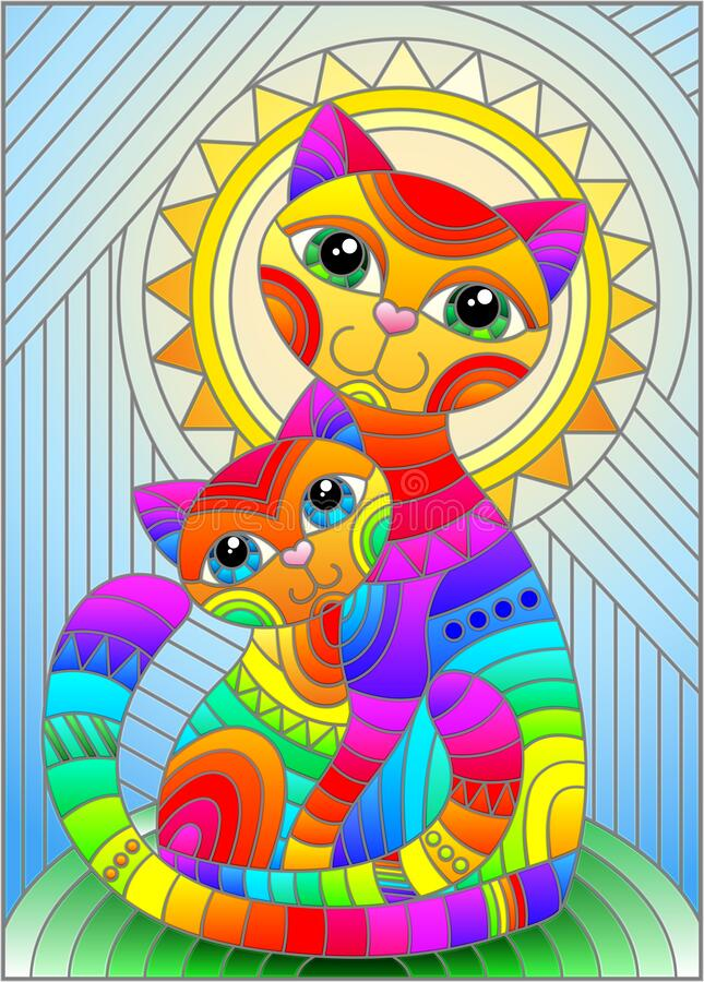 Free Stained Glass Illustration With  A Bright Rainbow Cat And Kitten On The Background Of An Abstract Geometric Sky And Sun, Rectangul Stock Images - 193631774