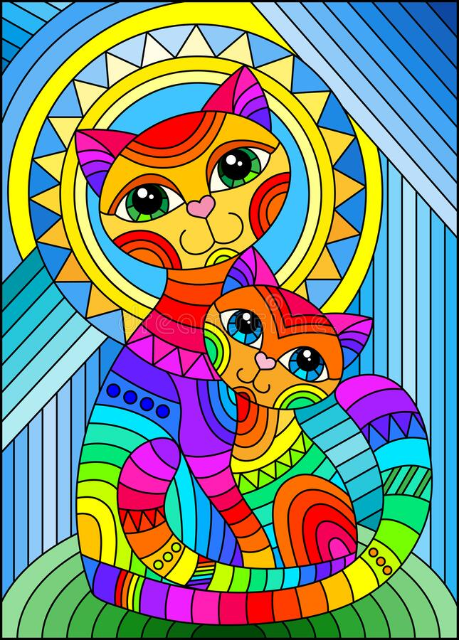 Free Stained Glass Illustration With A Bright Rainbow Cat And Kitten On The Background Of An Abstract Geometric Sky And Sun, Rectangula Stock Image - 181464271