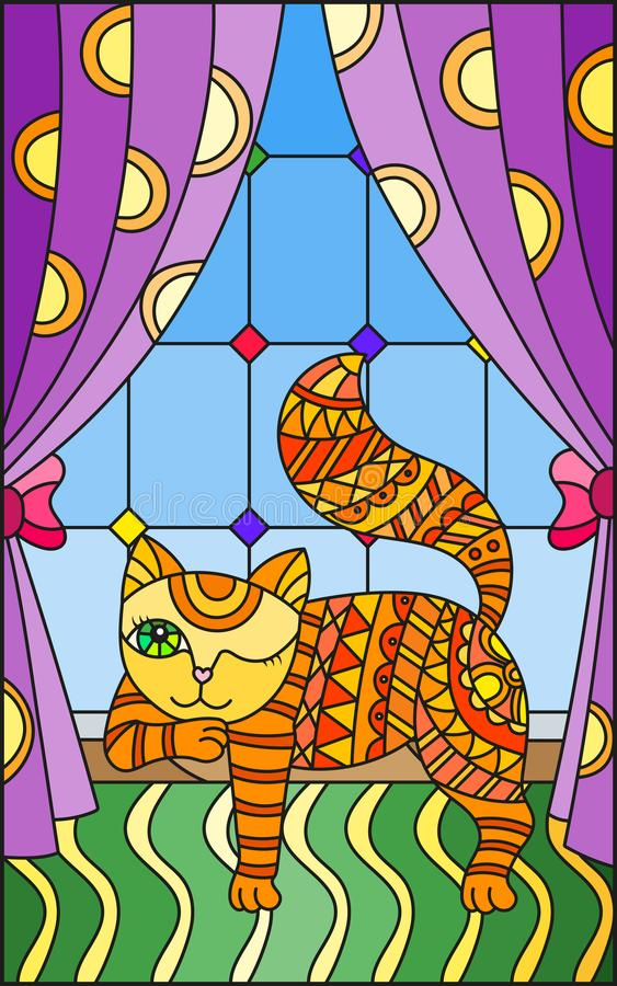 Free Stained Glass Illustration With A Red Cat On The Windowsill Royalty Free Stock Photo - 114200975