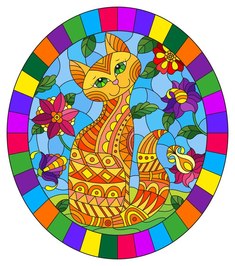 Free Stained Glass Illustration With A   Red  Cute Cat On A Background Of Meadows, Bright Flowers And Sky, Oval Image In Bright Frame Royalty Free Stock Image - 149356026