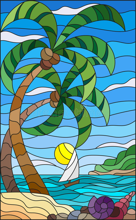 Free Stained Glass Illustration With A Tropical Sea, Landscape, Coconut Trees And Shells On The Sandy Beach, A Sailboat With A White Sa Stock Images - 90337714
