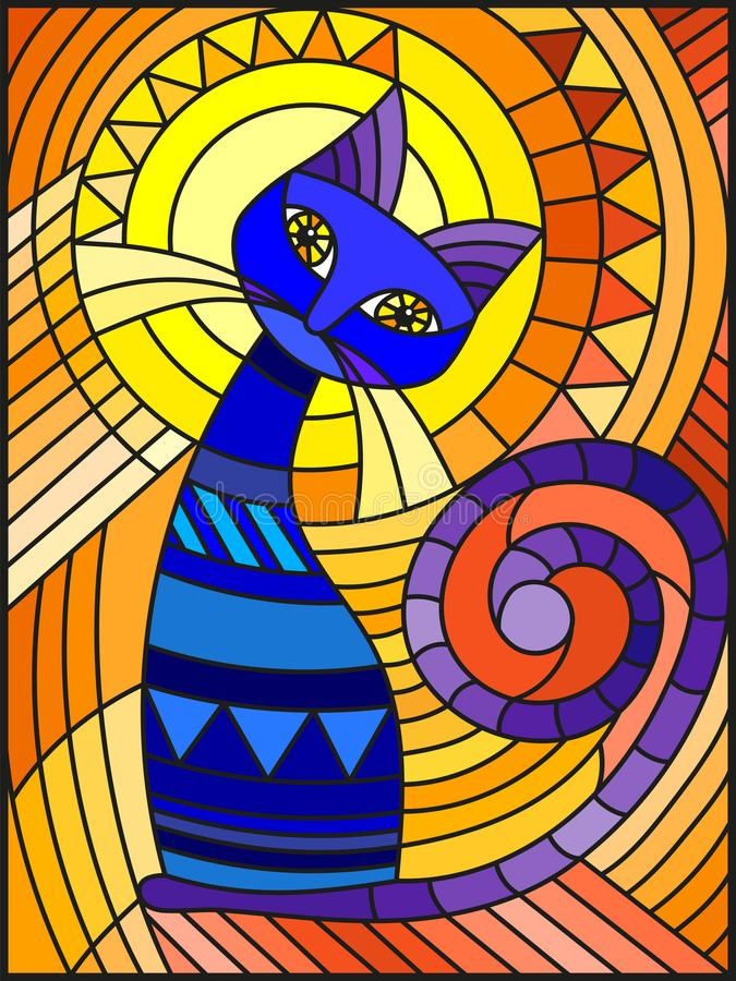 Free Stained Glass Illustration With Abstract Blue Geometric Cat On An Orange Background Stock Photo - 123108840