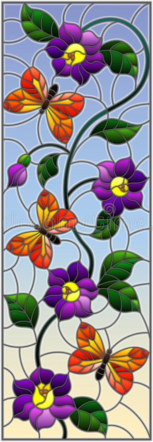 Free Stained Glass Illustration With Abstract Curly Purple Flower And An Orange Butterfly On Sky Background , Vertical Image Royalty Free Stock Photo - 112174785