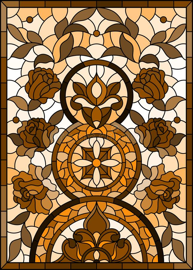 Free Stained Glass Illustration With  Abstract Flowers, Swirls And Leaves  On A Light Background,vertical Orientation, Tone Brown, Vert Royalty Free Stock Photo - 211435425