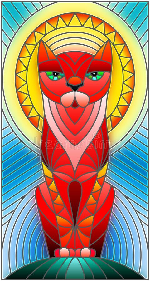 Free Stained Glass Illustration With Abstract Geometric Cat Royalty Free Stock Photo - 100491255