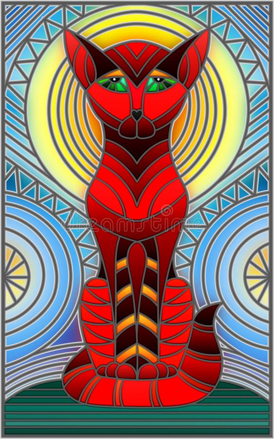Free Stained Glass Illustration With Abstract Geometric Cat Royalty Free Stock Image - 100491336