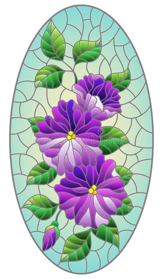 Free Stained Glass Illustration With Abstract Intertwined Purple Flowers And Leaves On Blue Background,vertical Orientation, Oval Image Royalty Free Stock Photos - 187252578