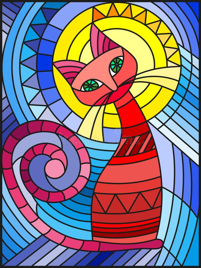 Free Stained Glass Illustration With Abstract Red Geometric Cat Stock Image - 99809881