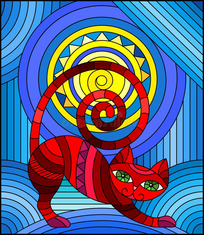 Free Stained Glass Illustration With  Abstract Red  Geometric Cat On A Blue  Background With Sun Royalty Free Stock Photos - 153104198