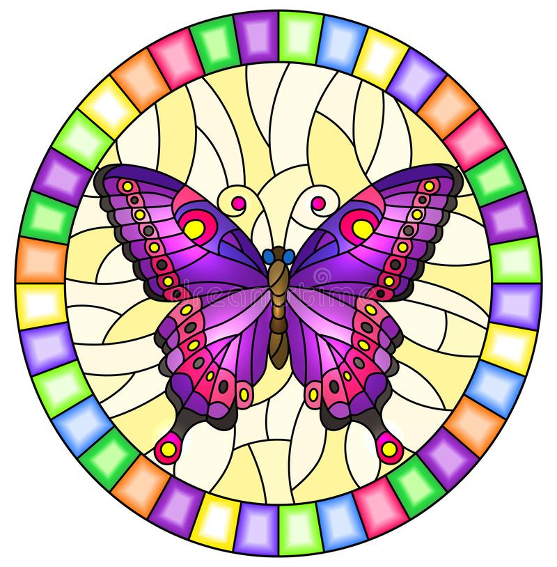 Free Stained Glass Illustration With Bright Purple  Butterfly On A Yellow Background, Oval Picture  In A Bright Frame Stock Images - 160299284