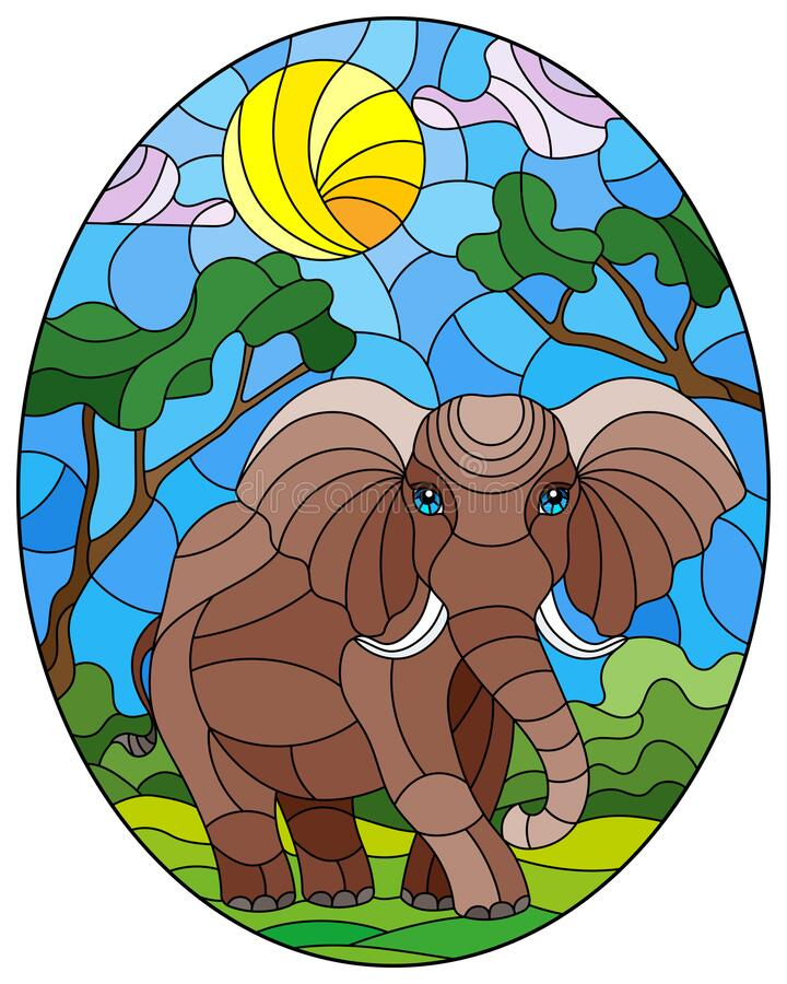 Free Stained Glass Illustration With  Cute Elephant On The Background Of Green Trees Of Cloudy Sky And Sun, Oval Image Royalty Free Stock Photography - 183233447