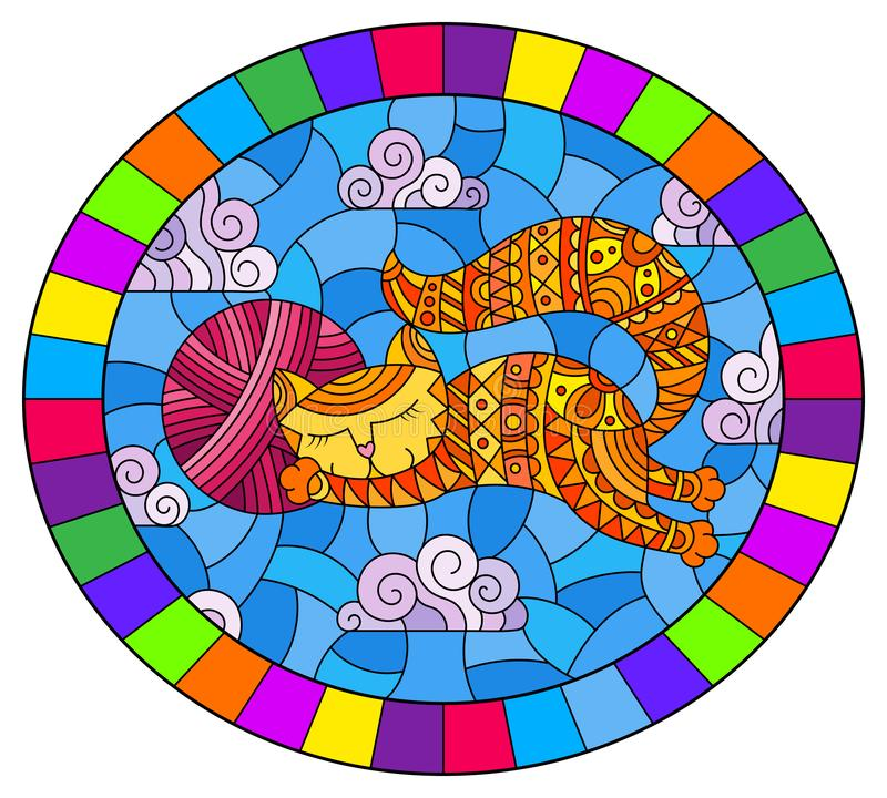 Free Stained Glass Illustration With  Illustration Of A Cartoon Red Cat Hugging A Ball Of Pink Yarn On The Background Of Sky And Clouds Stock Photography - 162166312