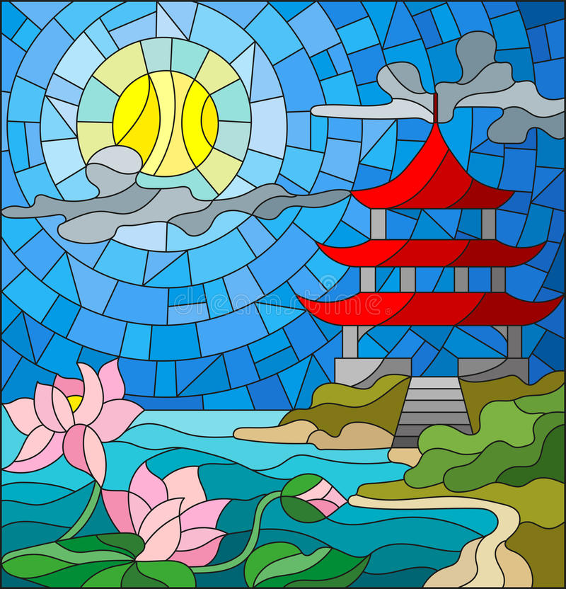 Free Stained Glass Illustration With Oriental Landscape, The Eastern Church With The Red Roof Against The Cloudy Sky And Sun, A River Royalty Free Stock Images - 88260249