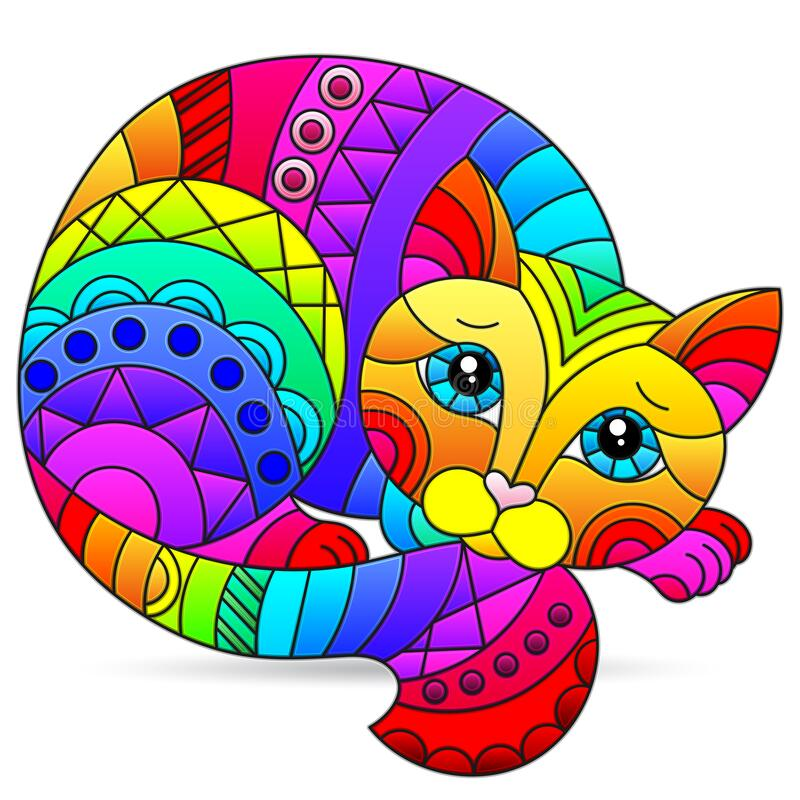 Free Stained Glass Illustration With Rainbow Cat , Isolated Image On White Background Stock Photo - 206117260