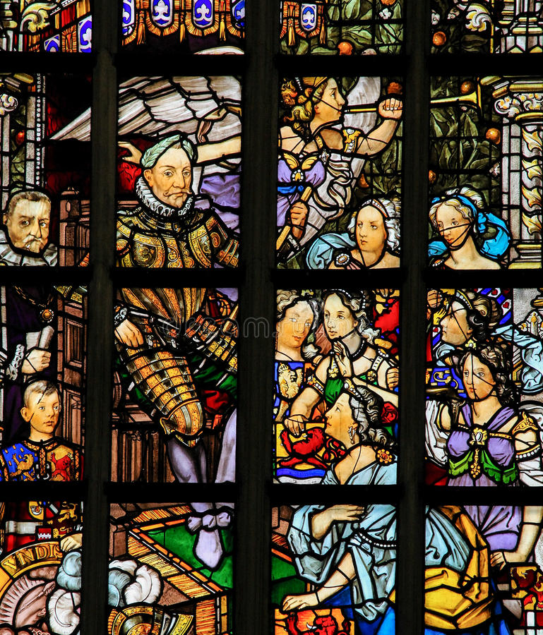 Free Stained Glass In Amsterdam - Willem Van Oranje Royalty Free Stock Photo - 81745845