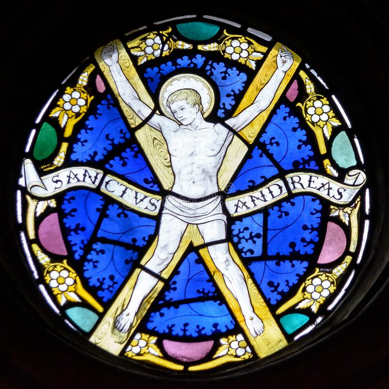 Free Stained Glass In Exeter Cathedral, St Andrews Chapel Window, Christ Walking On The Water Tracery Light A Stock Photos - 105284883