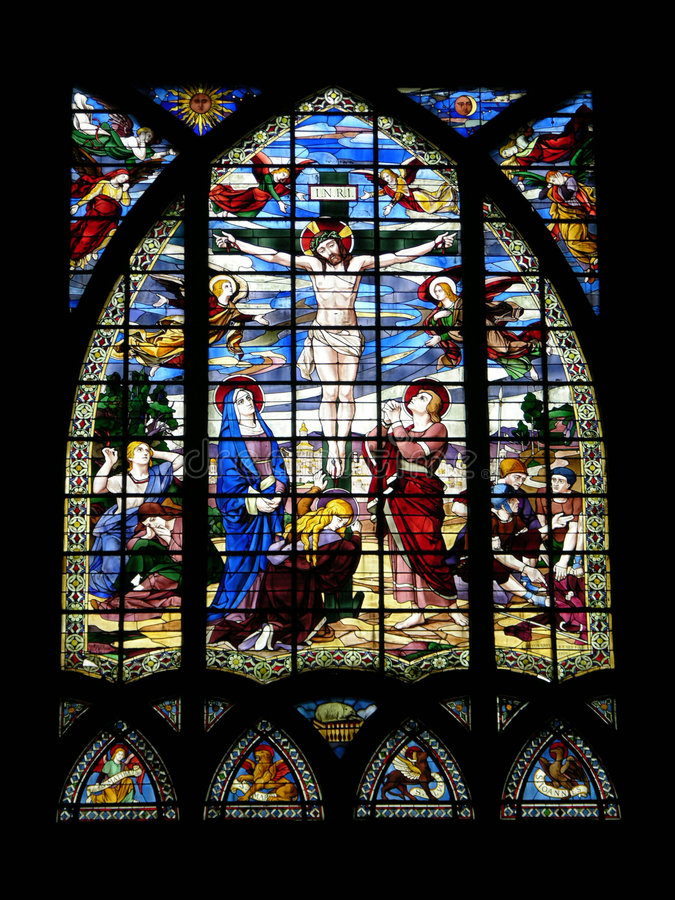 Stained glass inside church royalty free stock photo