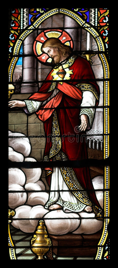 Stained glass with jesus. Stained glass window church stock photography
