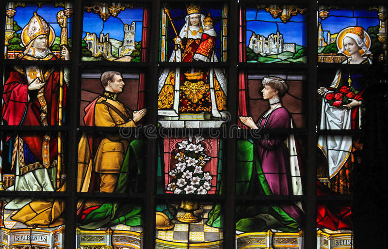 Stained Glass - King Albert I and Queen Elisabeth of Belgium. Stained Glass in the Church of Our Blessed Lady of the Sablon in Brussels, Belgium, depicting King stock photo