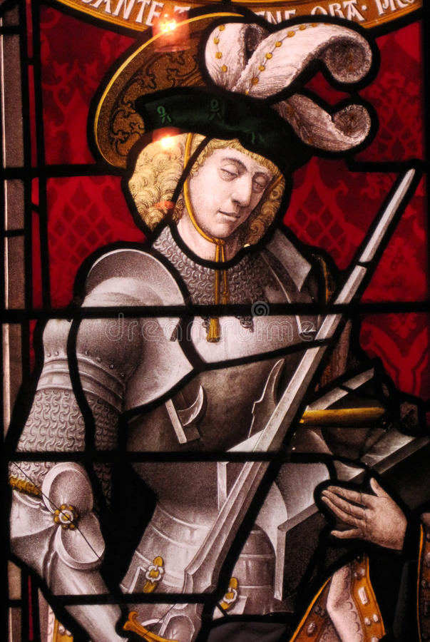 Stained Glass Knight. A knight created in a vintage stained glass design stock photography