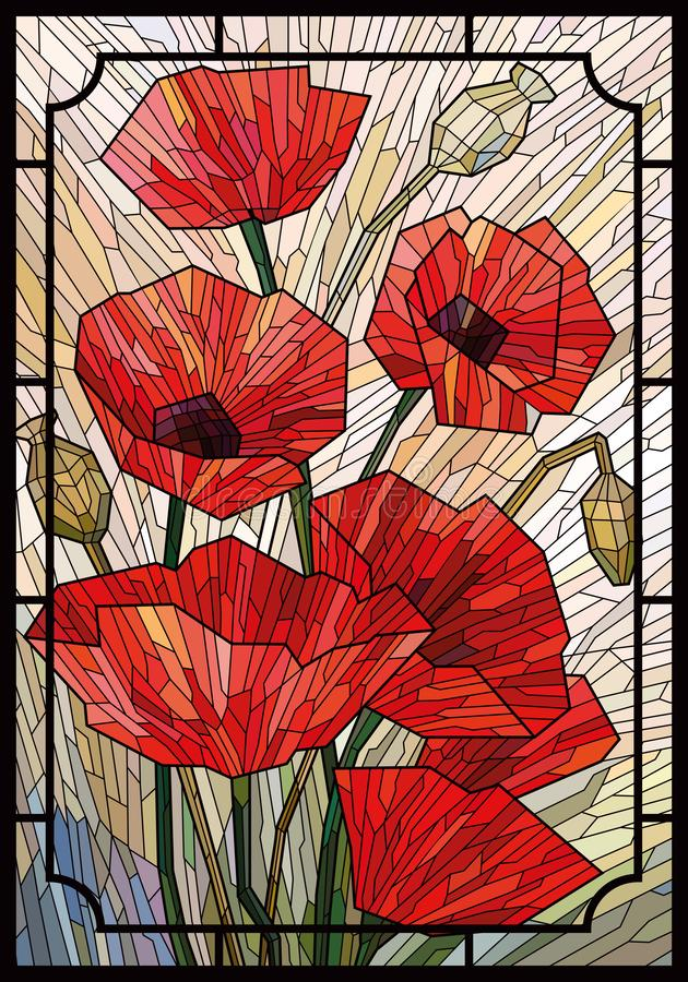 Stained glass large flowers poppies on a light beige background in a geometric frame. Black lines. Vector full color graphics royalty free illustration