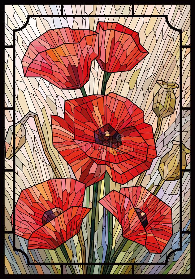 Stained glass large flowers poppies on a light beige background in a geometric frame. Vector full color graphics stock illustration