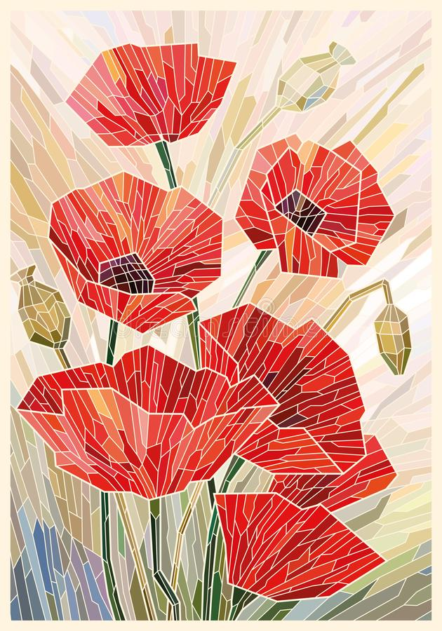 Stained glass large flowers poppies on a light beige background. Light lines. Vector full color graphics vector illustration