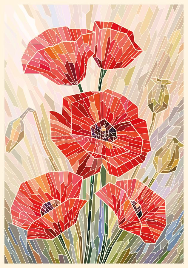 Stained glass large flowers poppies on a light beige background. Vector full color graphics royalty free illustration