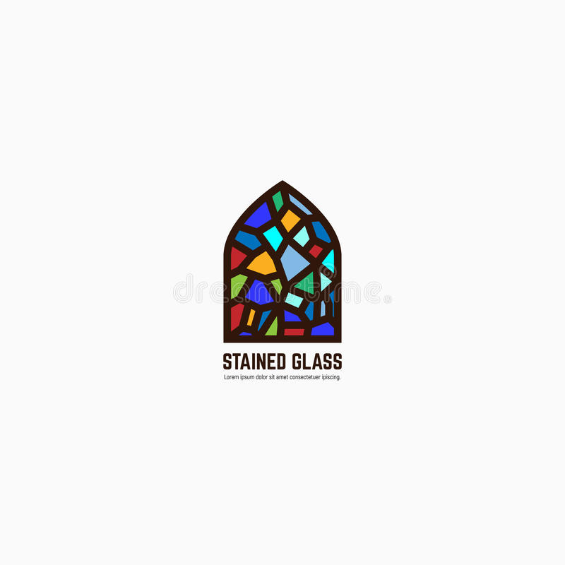 Stained glass logo vector illustration