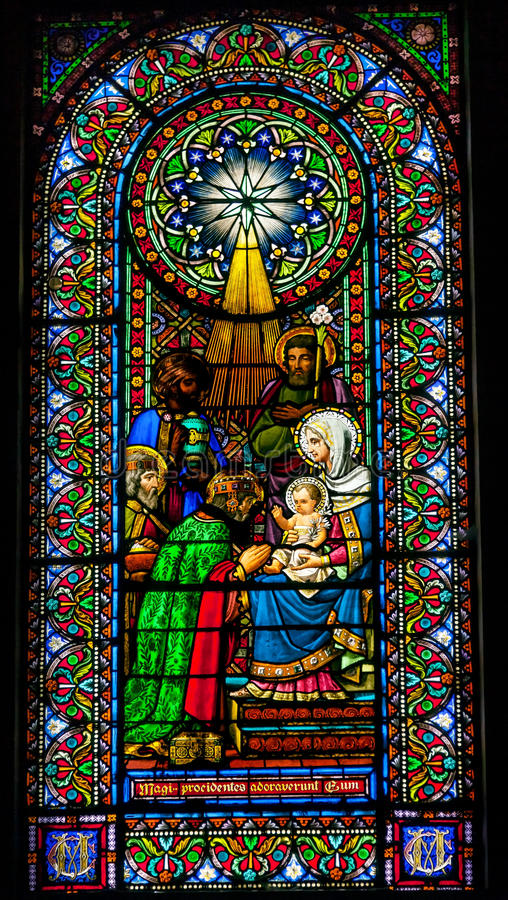 Stained Glass Magi Three Kings Baby Jesus Mary Montserrat Catalonia Spain. Stained Glass Magi Three Kings Baby Jesus Mary Monestir Monastery of Montserrat royalty free stock images