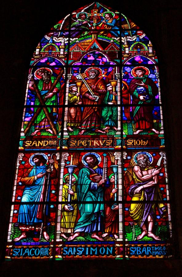 Stained Glass of Manizales Cathedral stock images