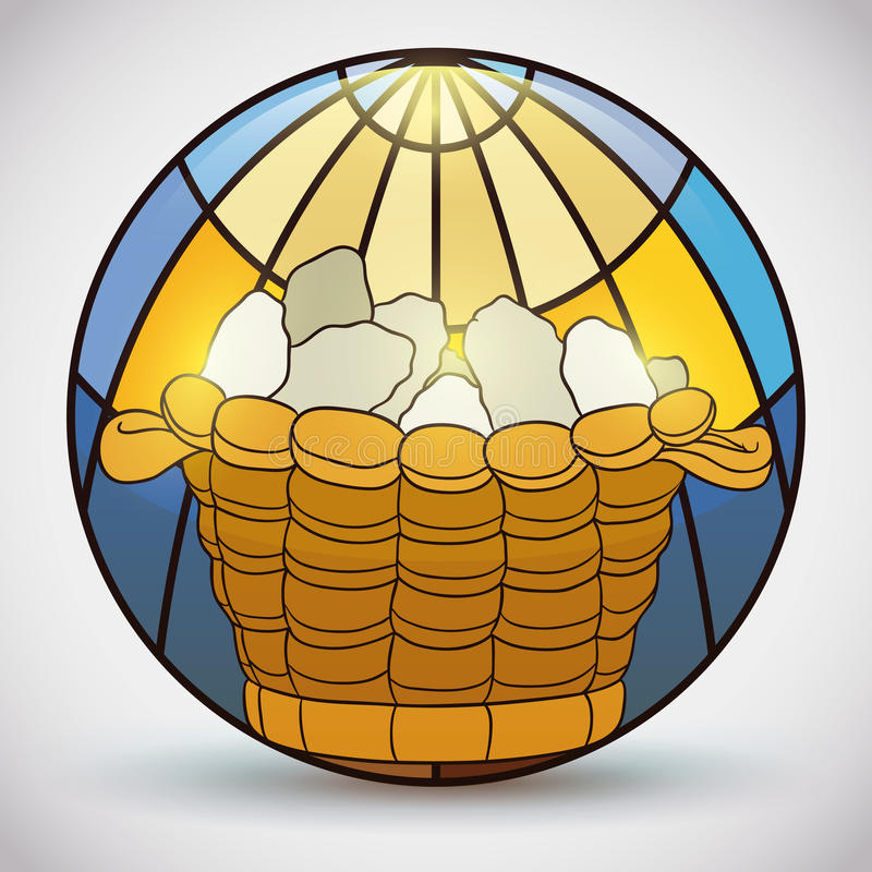 Stained Glass with Miracle of Breads in a Basket, Vector Illustration royalty free illustration