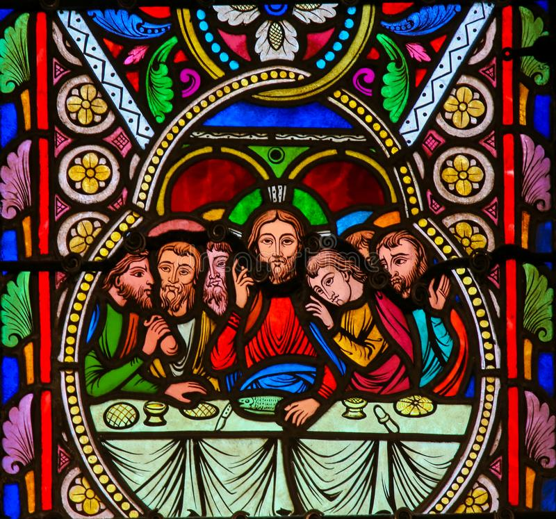 Stained Glass in Monaco Cathedral. Stained Glass in the Cathedral of Monaco, depicting Jesus and the Apostles at the Last Supper on Maundy Thursday royalty free stock photos