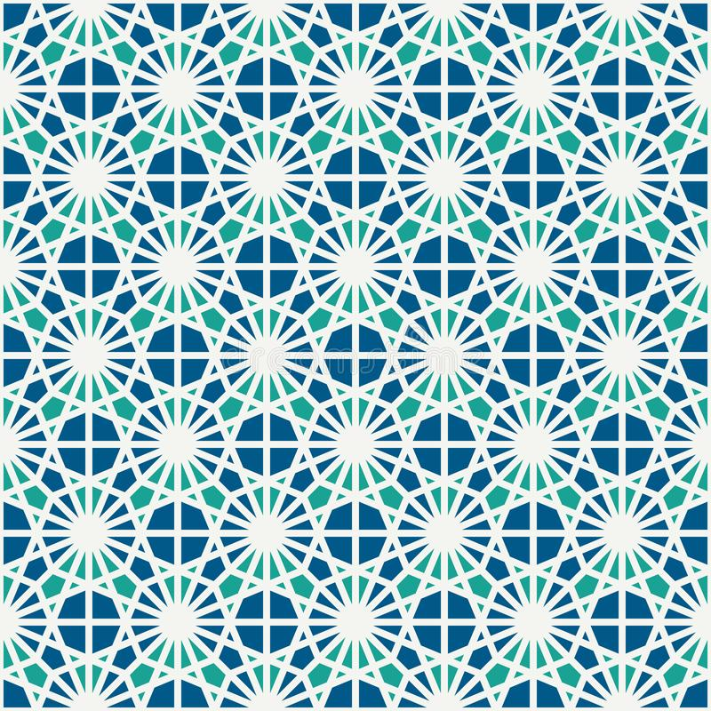 Stained glass mosaic seamless surface pattern. Moroccan ceramic tile motif. Openwork ornament. Kaleidoscope background. royalty free illustration