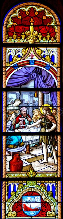 Stained Glass Mother church of Vila do Conde royalty free stock photo