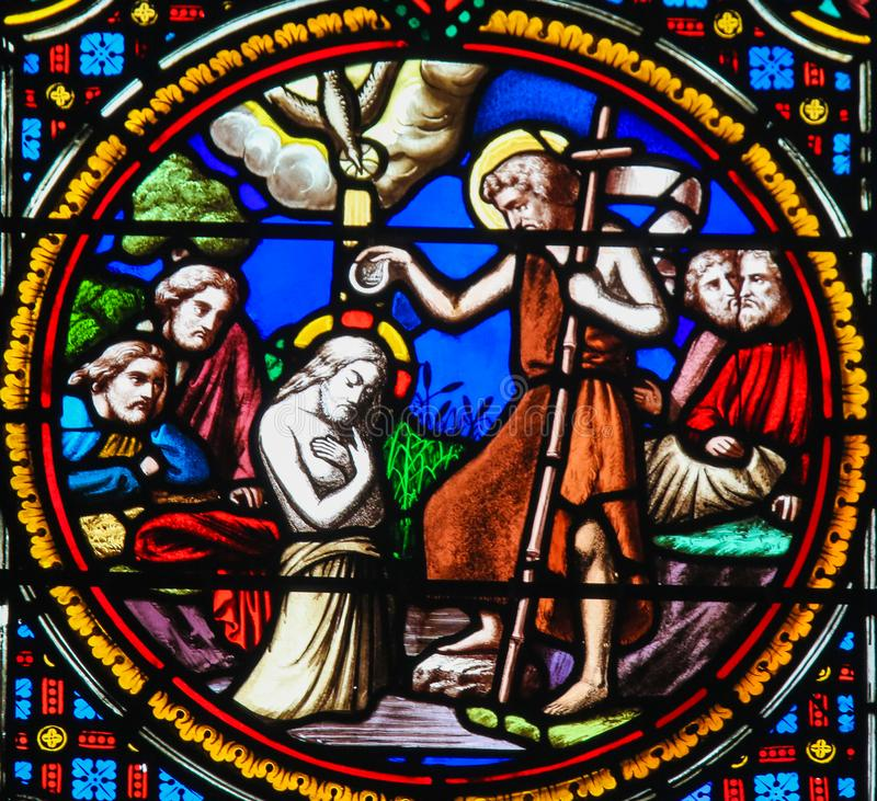 Stained Glass in Notre-Dame-des-flots, Le Havre - Baptism of Jesus. Stained Glass in the Chapel of Notre-Dame-des-flots & x28;1857& x29; in Sainte Adresse, Le royalty free stock images