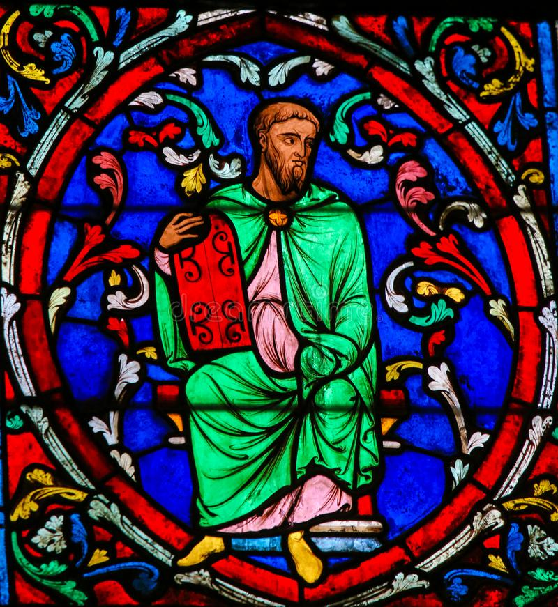 Stained Glass in Notre Dame, Paris of Moses stock images