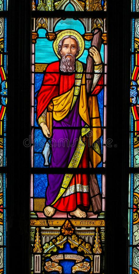 Free Stained Glass Of  Saint Andrew - St Valery Sur Somme Stock Photography - 161620312