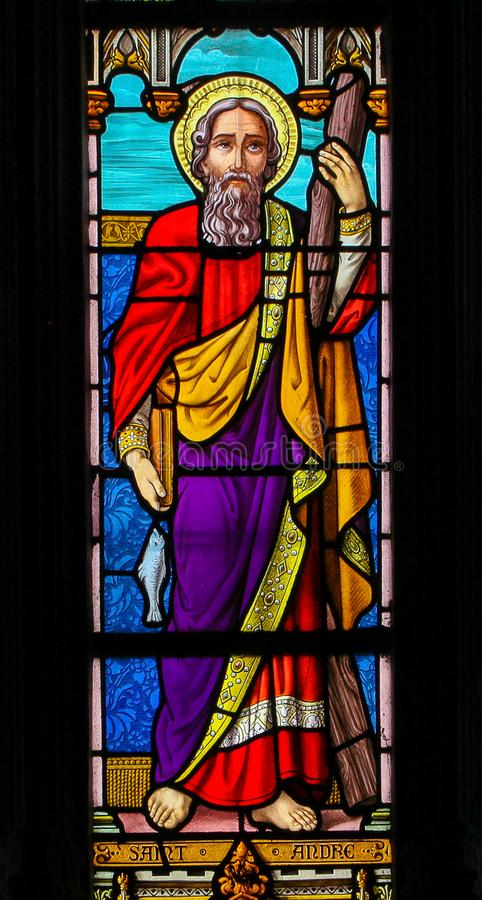 Free Stained Glass Of  Saint Andrew - St Valery Sur Somme Royalty Free Stock Photography - 163504267