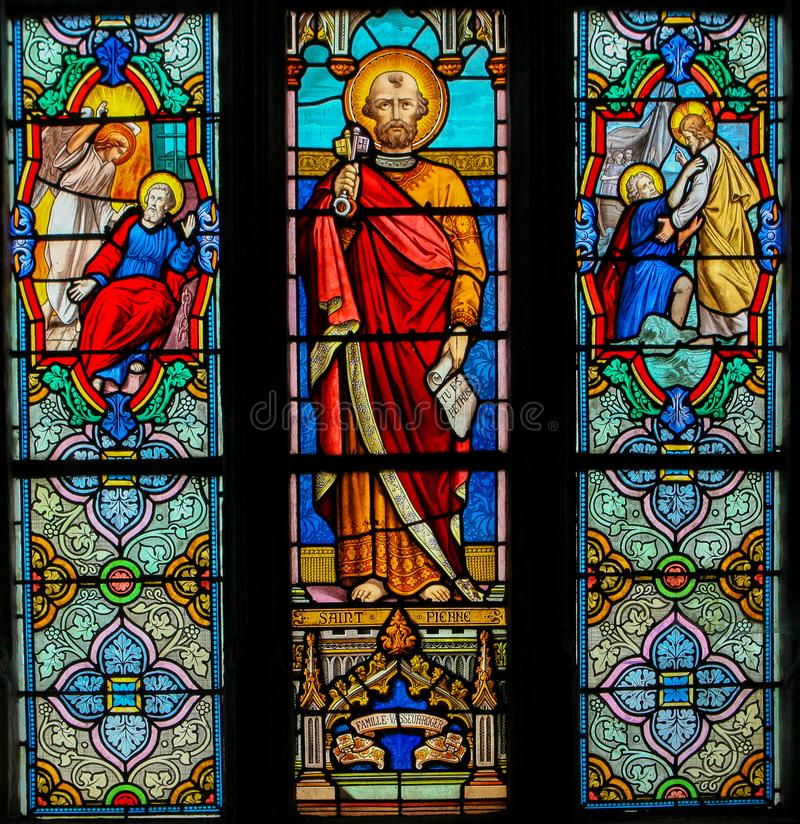 Free Stained Glass Of Saint Peter - St Valery Sur Somme Stock Images - 161620324